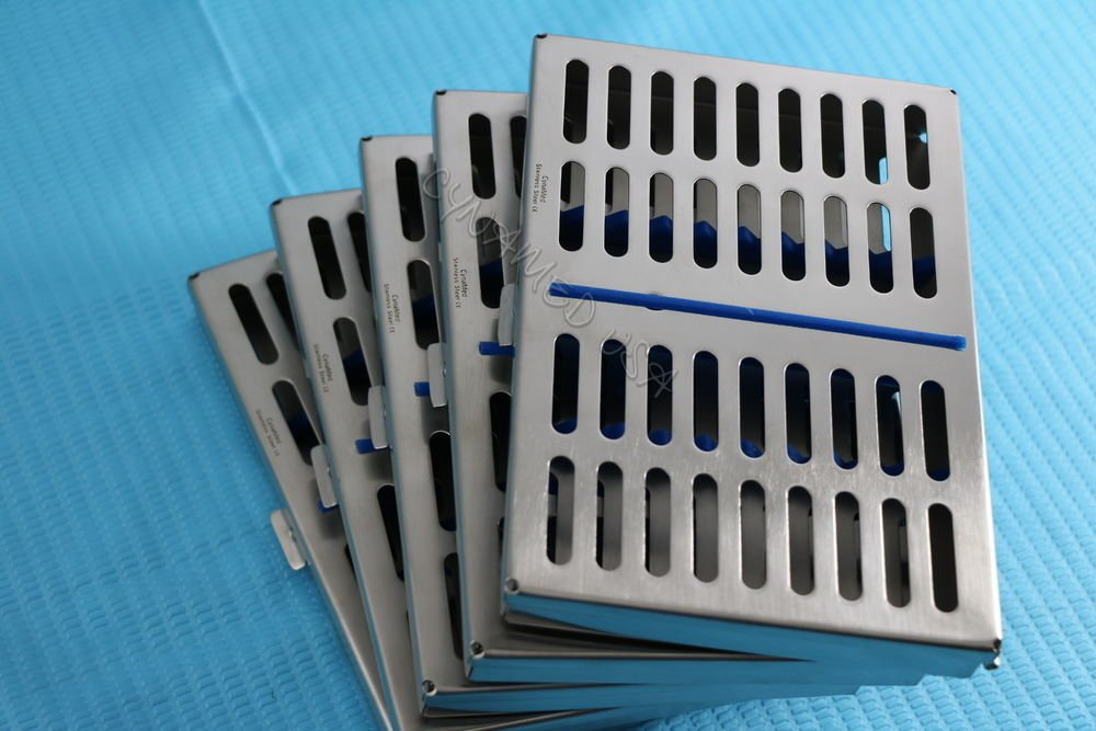GERMAN STEEL SET OF 5 DENTAL AUTOCLAVE STERILIZATION CASSETTE RACK BOX TRAY FOR 10 INSTRUMENT