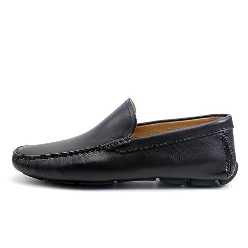 Giorgio Rea Zapatos para Hombre Car Shoes Negro Elegante Hombre Zapatos Hecho A Mano EN Italia Cuero Real Brogue Oxfords Richelieu Mocasines: Amazon.es: ...