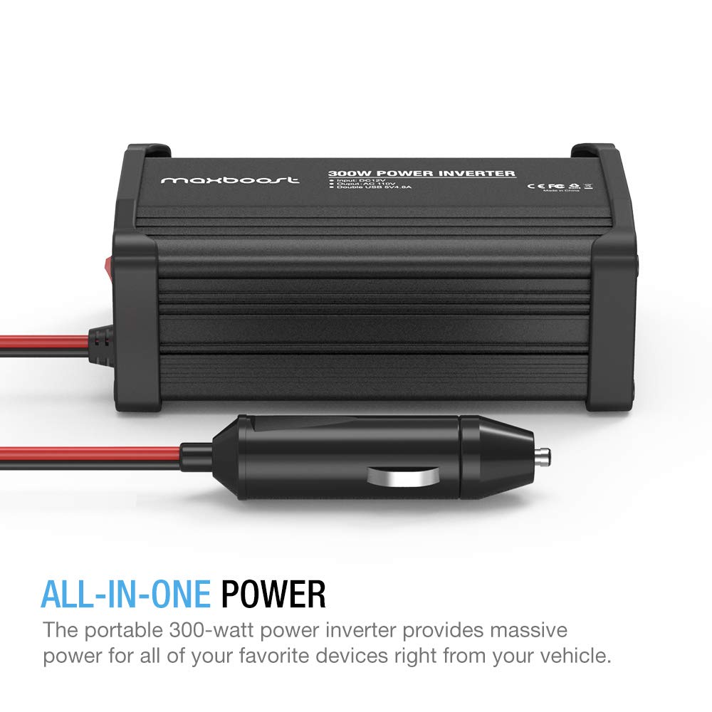 Maxboost 300W Power Inverter Dual 110V AC Outlet and 2.4A 24W USB Car Charger Aluminum PC Body DC 12V to 110V AC DC 5V USB Battery Charger for Laptop,iPad,iPhone,Tablet,Phone