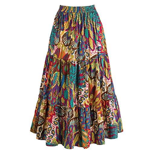 Women's Peasant Broom Skirt - Reversible Tangier Paisley Print - Gold - Large (Print Reversible Skirt)