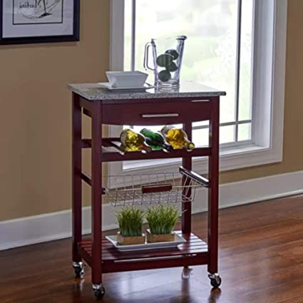 Amazon.com - Real Simple Kitchen Island, Rolling Granite Top ...