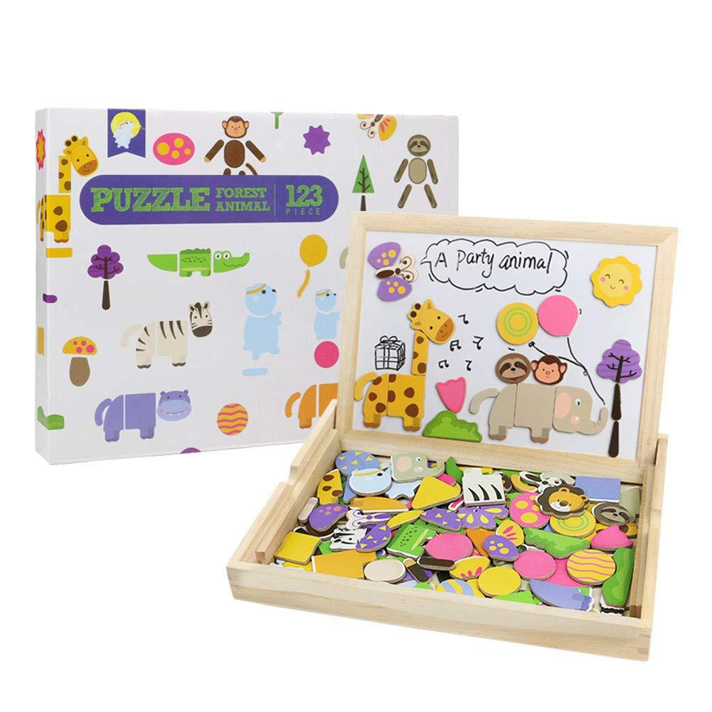 Puzzles Rompecabezas de Madera Serie de Animales Tablero de Dibujo Magnetico con Doble Cara para Niños 3 4 5 6(123PCS)