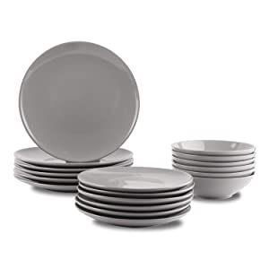 AmazonBasics 18-Piece Stoneware Dinnerware Set - Smokey Grey, Service for 6