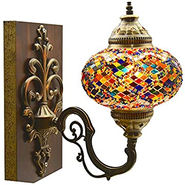 Turkish Moroccan Mosaic Tiffany Glass and Metal Wall Light Sconce (Turkish Rug)