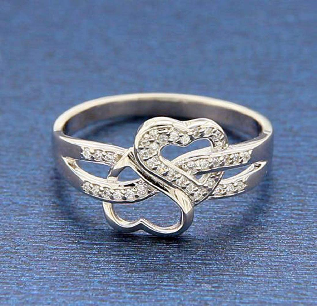 Luxo Jewelry 925 Sterling Silver Infinity Promise Heart Cubic Zirconia CZ Band Ring Size 4-10