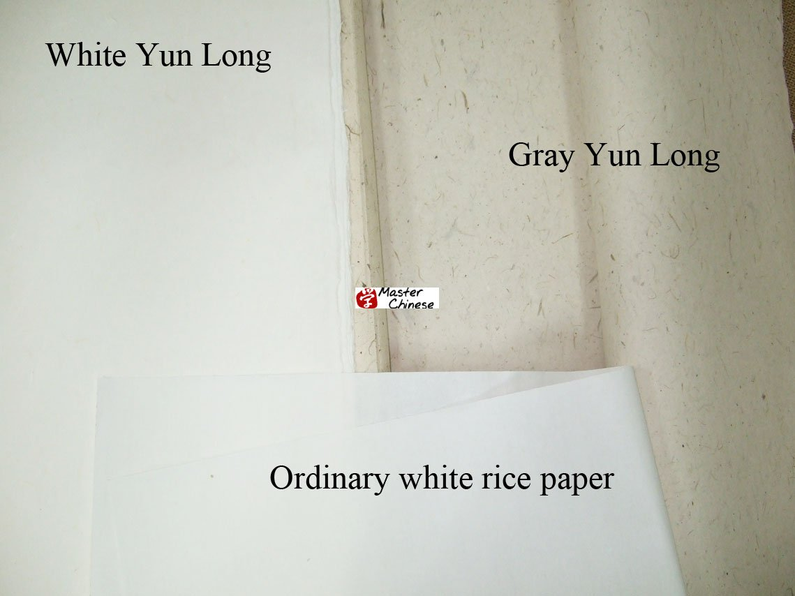 Fiber Half Raw Rice Paper Chinese Calligraphy Sumi Drawing Paper 27x 55 inches (68x138 cm) 50 Sheets - Yun Long (Gray)