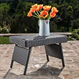 Lakeport Patio Furniture ~ Outdoor Wicker Adjustable Folding Table (Grey)