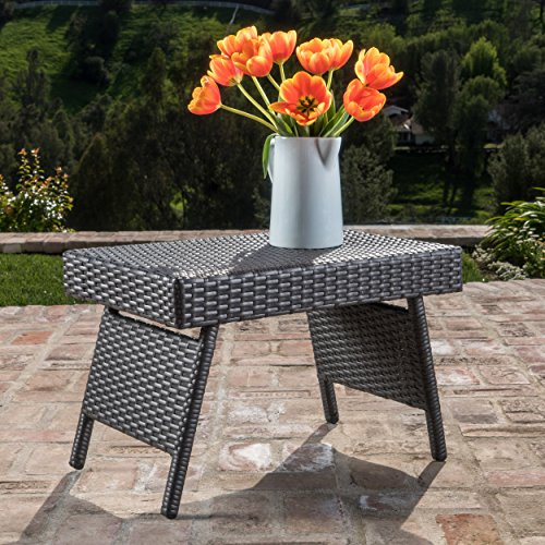 Folding Wicker - Lakeport Patio Furniture ~ Outdoor Wicker Adjustable Folding Table (Grey)