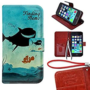 iPhone 5C Wallet Case, TwoDee - Disney Finding Nemo Premium PU Leather Case Wallet Flip Stand Case Cover for iPhone 5C with Card Slots
