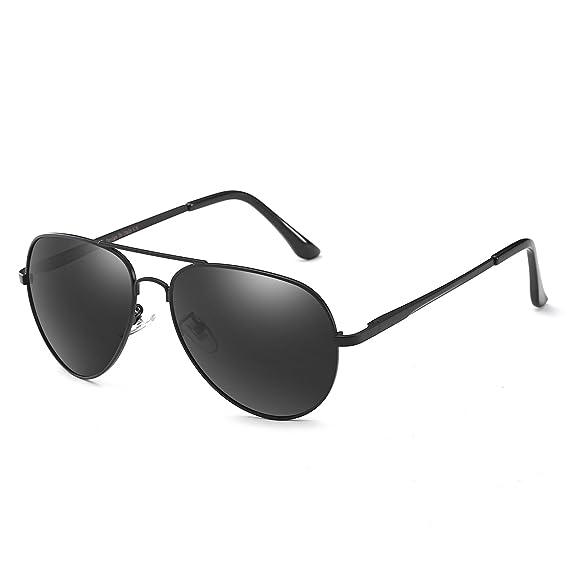 Lunettes de soleil polarisées aviateur classique pour la pêche sportive des hommes conduisant 100% de protection UV (Noir) tlnLAls