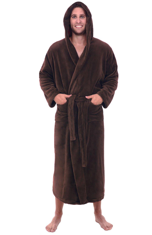 Fleece Bathroom Robe Long Soft Hooded Bathrobe For Men 1XL 2XL Chestnut  Brown