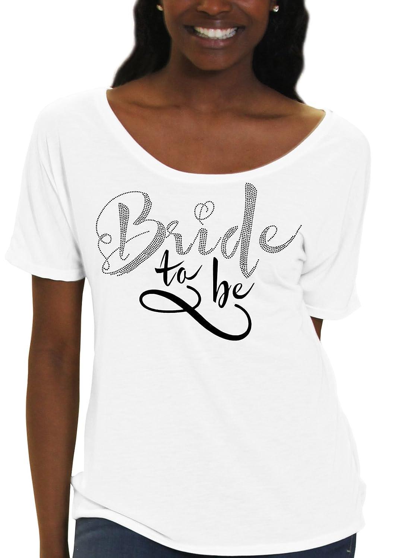 Foxy Bride To Be Rhinestone & Glitter Women's Flowy T-Shirt by RhinestoneSash.com