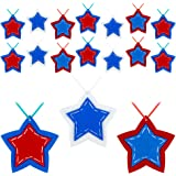 BLOCE Patriotic Hanging Star Ornament, 24 Pieces 4th of July Patriotic Day Hanging Tree Pendant for Memorial Day Labor Day Fl