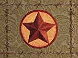 "Unique & Custom {12.5'' x 18'' Inch} Single Pack of Rectangle ""Non-Slip Grip Texture"" Large Table Placemat Made of Washable Cotton & Polyester w/ Country Western Star Design [Colorful Brown & Red]"