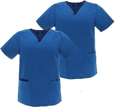 MISEMIYA - Pack*2 - Camisa Camisetas Mujer Medica Mangas Cortas Uniforme Médicos Enfermera Ddentistas G713: Amazon.es: Ropa y accesorios