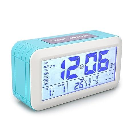 VADIV Reloj Despertador Digital, CL02 con 2 Alarmas Programables Separada, Pantalla Retroiluminada Calendario Hora Fecha Indicador de Temperatura ...