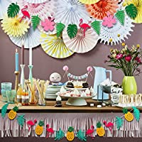 2Pcs Hawaii Flamingo Tropical Themed Party Garland Banner for Tropical Hawaii Tiki Party Decoration Supplies