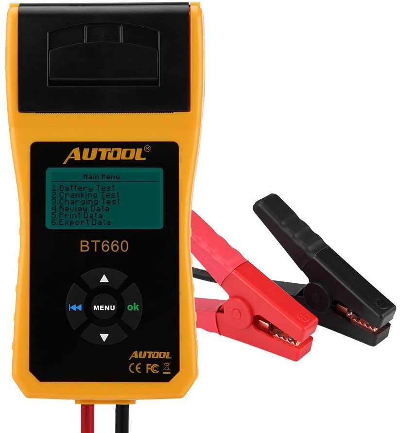 Keenso 12V//24V Auto Battery Testers with Printer Automotive Car Battery Load Tester Diagnostic Tools Digital Battery Analyzer For Heavy Duty Cars BT660 Battery Conductance Tester Trucks Boats