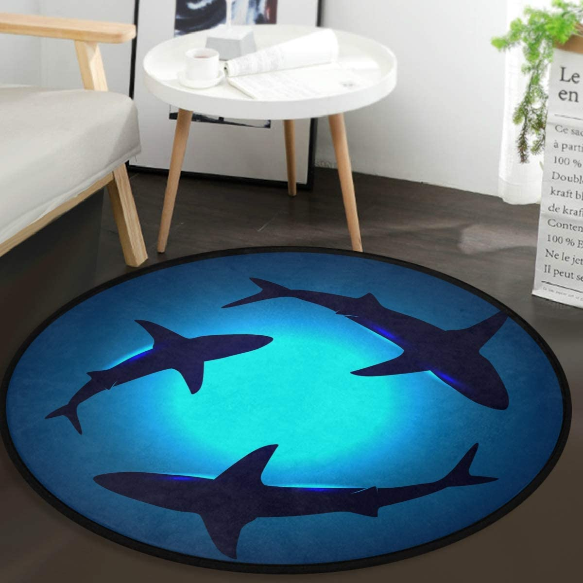 Vdsrup Cute Animal Sharks Doormat Shark Blue Ocean Round Floor Mat Non Slip Absorbent Carpet Yoga Rug for Entryway Bedroom Living Room Sofa Home Decor