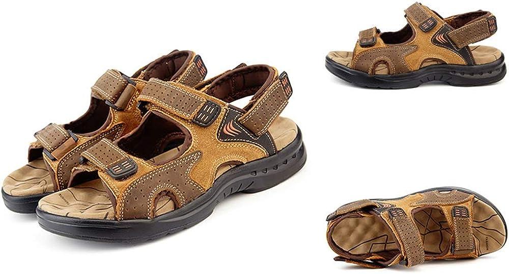 2019 Nuevas Sandalias de Verano Sandalias de Piel de Vaca Masculina Ocio Hombres Playa Zapatos Moda Arena Arrastre Vinteen Brown