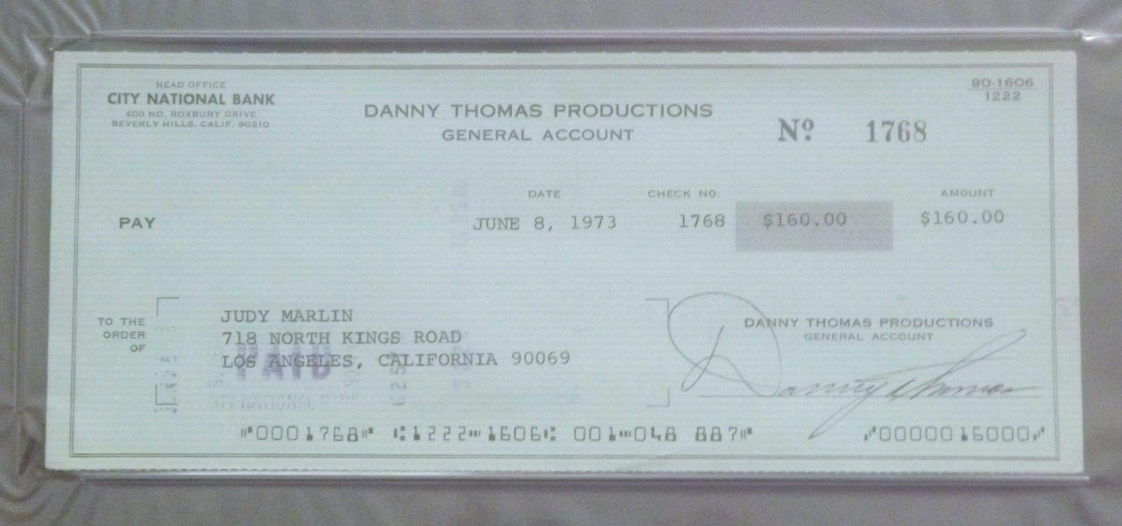 1973 Danny Thomas Productions Check PSA/DNA Autographed Signed Actor Afl Miami Dolphins