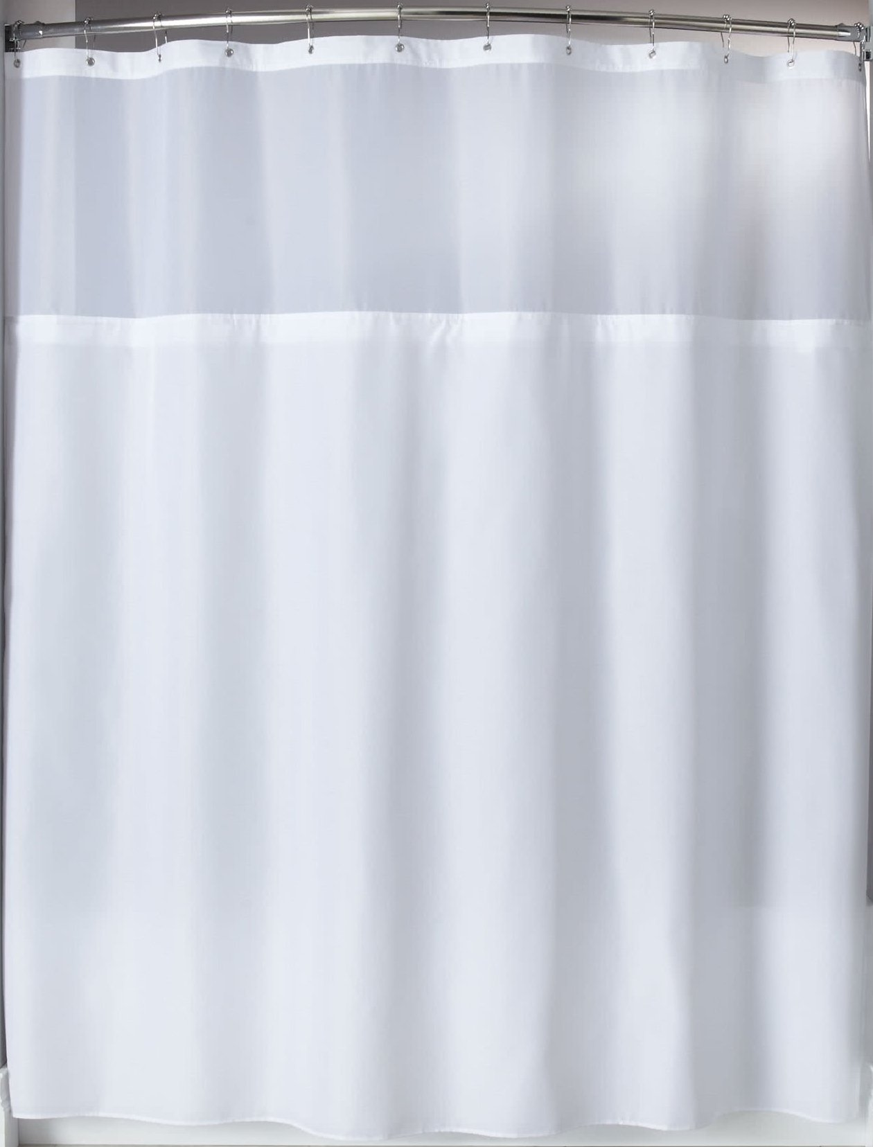 Trendy Linens Heavy Duty Hotel Quality Polyester Shower Curtain for Bathroom Shower Stall and Bathtub with Sheer Polyester Peek a boo Window - 71'' x 72'', White