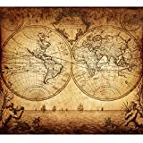 world map poster old - Vintage Old World Map Poster Print Art 1733 Nautical Sailing Ship Map Home Wall Decor