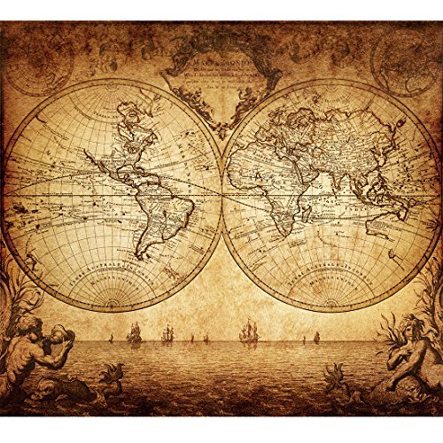 Poster World Map Old (Vintage Old World Map Poster Print Art 1733 Nautical Sailing Ship Map Home Wall Decor)