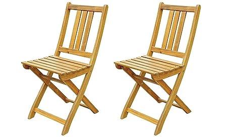 MSA Sam® Set de 2 sillas Plegables de Madera de Acacia ...