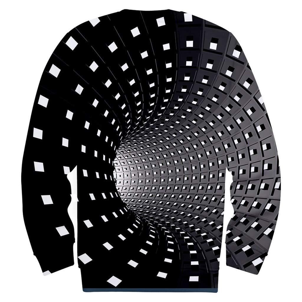 Dwevkeful Hoodie Unisex Herren 3D-Druck Kreative Rundhals L/äSsige Langarm Shirt Top Wirbel Blusen Sweatshirt Tops Pullover Kapuze Kapuzenpullover