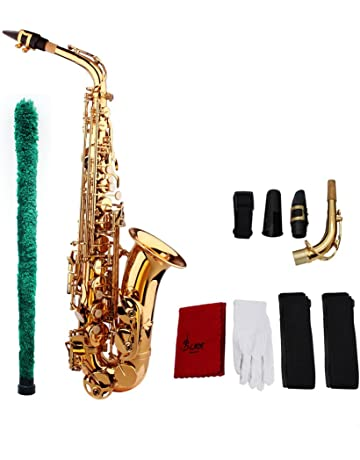 ammoon Saxophone Sax Eb Be Alto E Flat Brass Carved Pattern Set