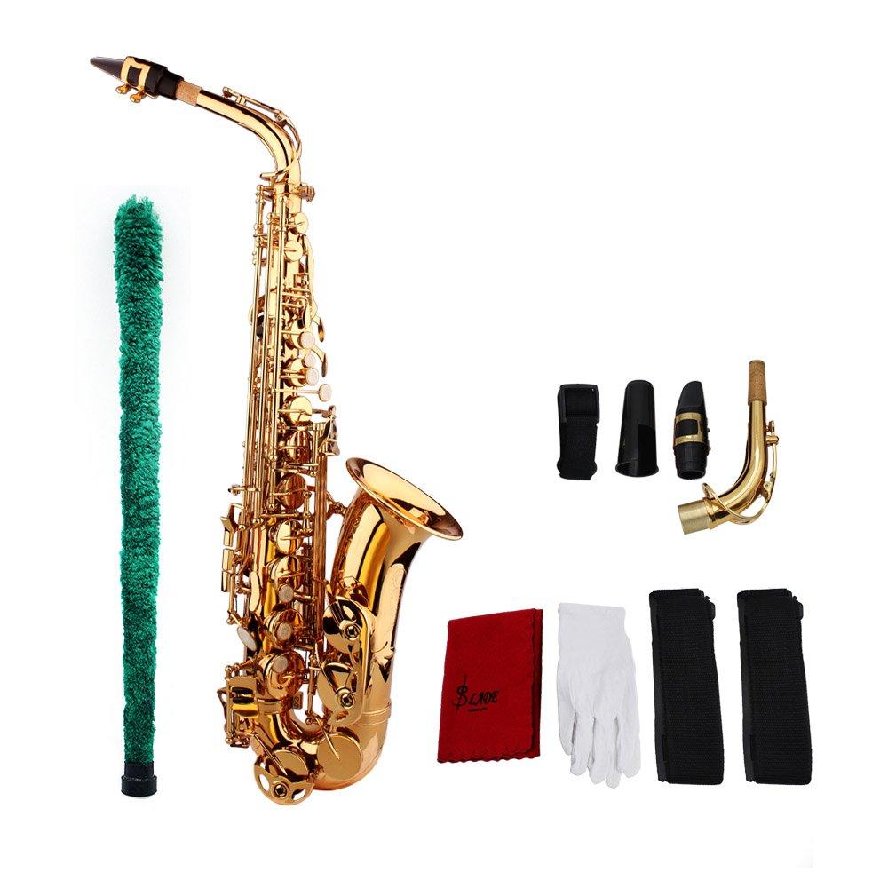 ammoon LADE Saxofón Eb E Latón Plana Patrón Tallado en Superficie de Plástico Boquilla Exquisito con los Guantes de Paño Limpieza Cepillo Correas