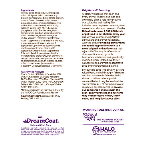 Halo Holistic Healthy Weight Dry Cat Food for Indoor Cats, Grain Free Game Bird Medley, 6 LB Bag ...