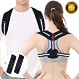 "Posture Corrector, Acdyion Back Support Belt Adjustable Size Straight Strap for Women and Men Shoulder Back Strap to Fix Slouching and Hunching Back (Black, S/M: 31""-39"")"