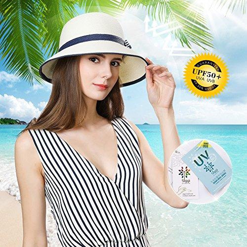 62a107731eb Womens Sun Summer Straw Beach Hat Floppy Fashion Stylish Travel Panama  Fedora Hats Foldable UV White