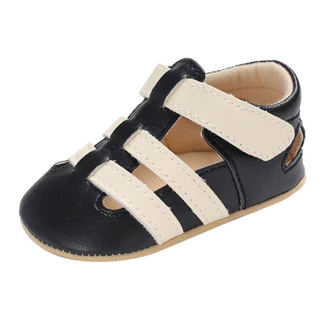 3d32485c1 Amazon.com  Moonker Infant Baby Boy Girl Summer Outdoor Closed-Toe Leather  Sandals Non-Slip Soft Soled Flat Toddler Shoes 0-18M  Clothing