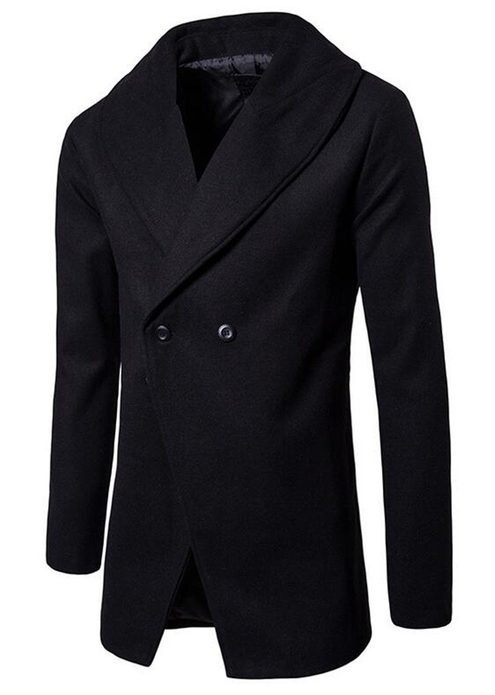 Cafuny Men's Casual Pure ColorTurn Down Collar Winter Trench Coat Wool Overcoat XS Black