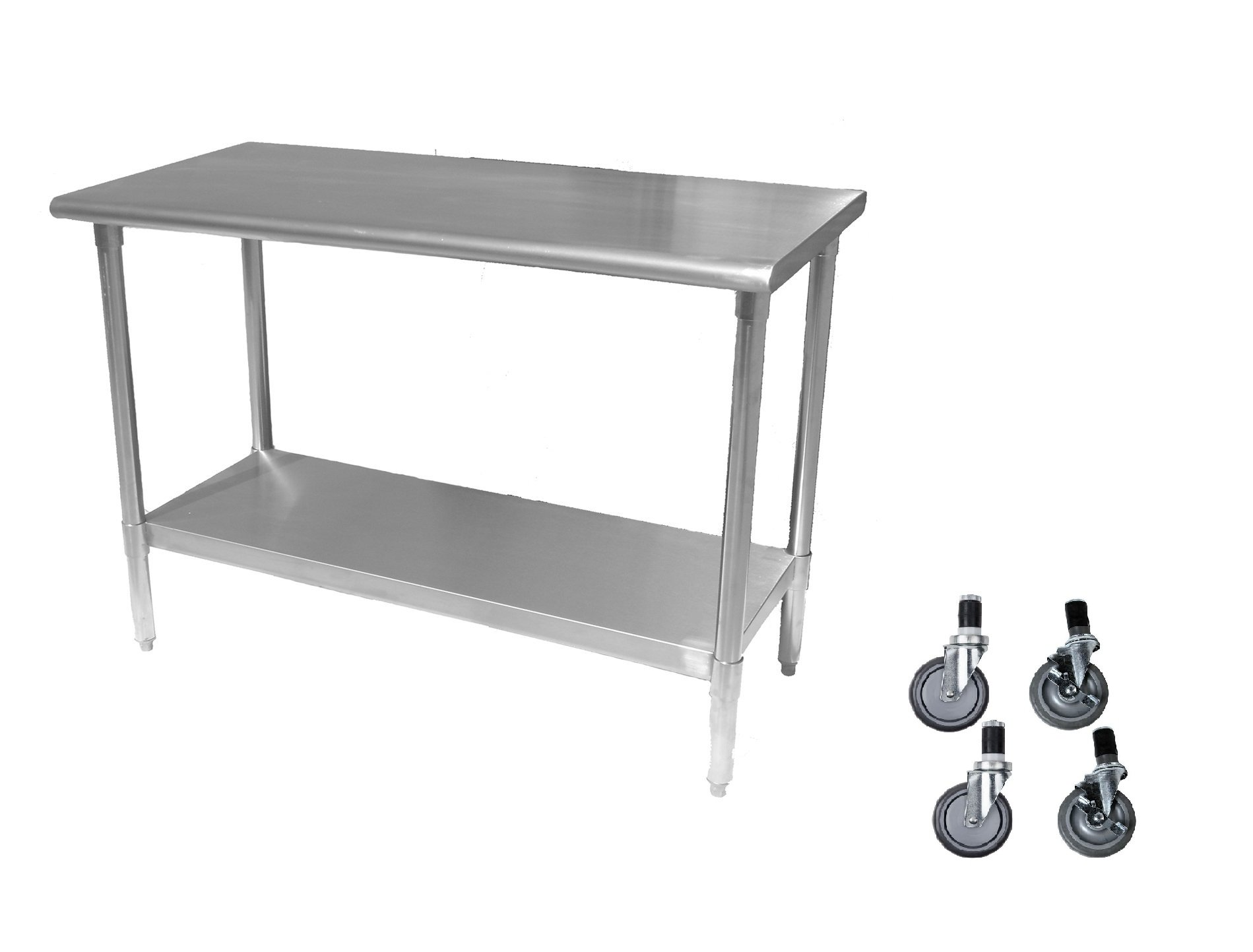 Stainless Steel Prep Work Table 18 x 72 with Casters - NSF - Heavy Duty