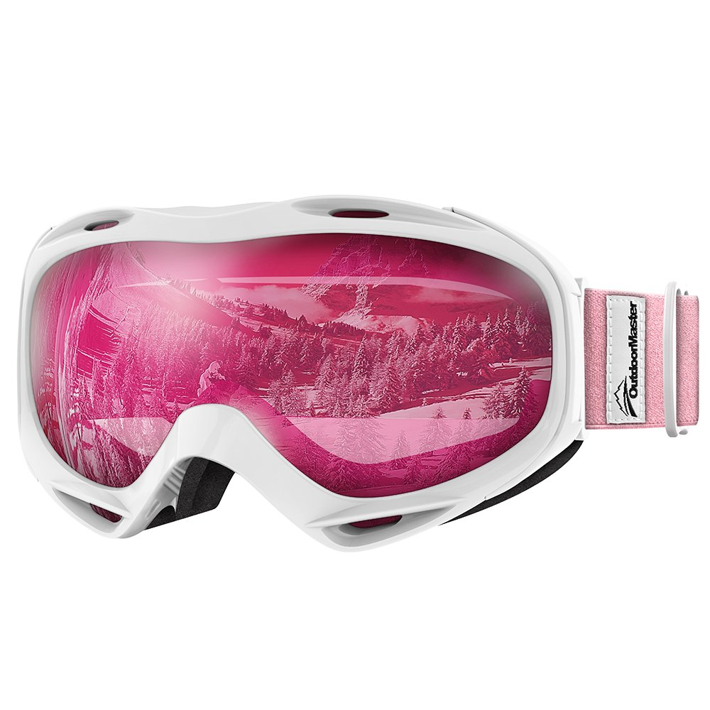OutdoorMaster OTG Ski Goggles - Over Glasses Ski / Snowboard Goggles for Men, Women & Youth - 100% UV Protection (White Frame + VLT 46% Pink Lens) by OutdoorMaster