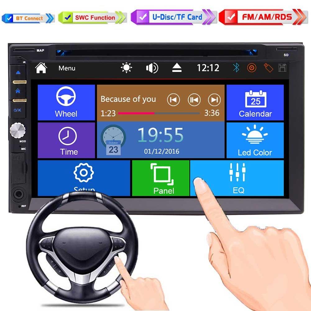 3 UIオプションのサポートのBluetoothサブウーファーのバックアップカメラAUX SD / USB +リモコン付き6.95インチのフルタッチスクリーン車DVD CDプレーヤーヘッドユニットとダッシュカーマルチメディアプレーヤーでカーステレオBluetoothダブル2ディンカーラジオ B07BWC39CW