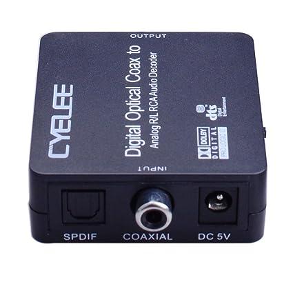 Cyelee Convertidor Digital a analógico de audio, control de volumen, entrada óptica coaxial conmutación, 192 kHz/24Bit, RCA L/R 3,5 mm Salida de ...