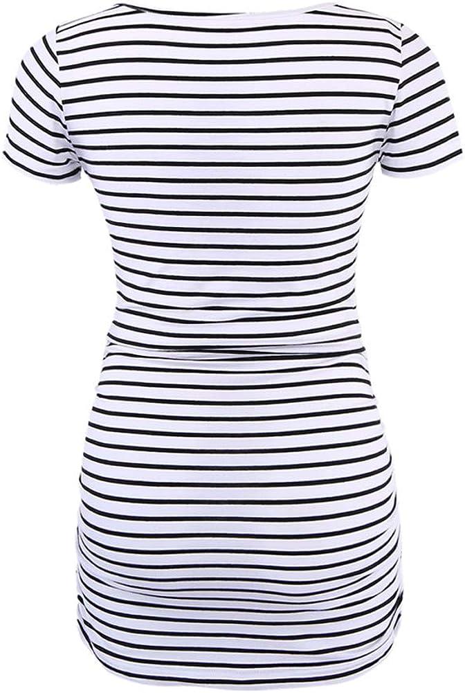 Liu /& Qu Womens Maternity Basical T-Shirt Side Ruching Round Neck Tops