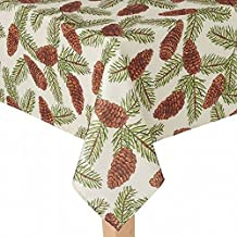 St Nicholas Square Woven Pine Cone Print Tablecloth Fabric Table Cloth 60x120 Ob