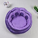 Bigbig Home Dog Cat bed Portable Collapsible Luxury Indoor Outdoor Dog Cat House Windproof Warmer - Soft and comfortable Purple Bed Shelter Dog Paw Design