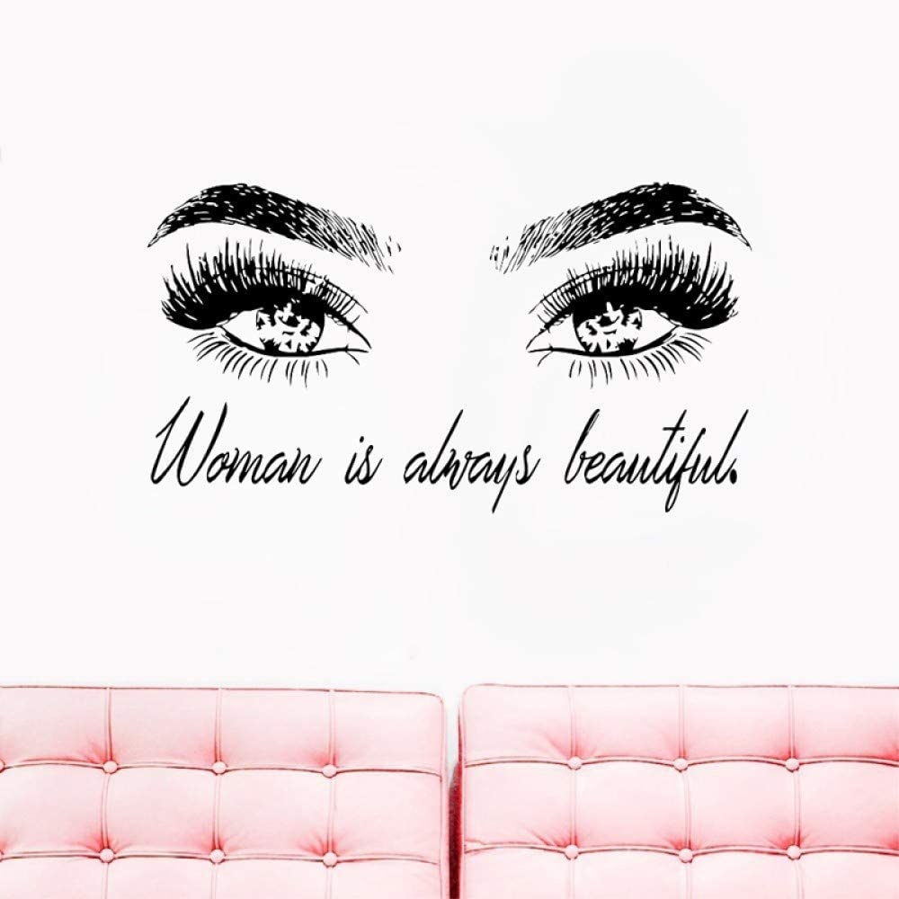 LSMYM Ojo Pestañas Tatuajes de pared Mujer Maquillaje Vinilo Adhesivo Pestañas Extensiones Tienda de belleza Decoración de la pared Cejas Mural Negro 56x31 Cm
