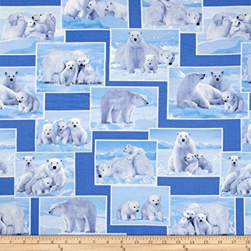 On The Wild Side Polar Bears Blue Fabric By The Yard