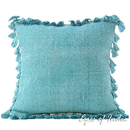 Amazon Com Eyes Of India 16 Blue Cotton Decorative Dhurrie Throw