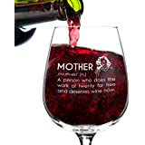 DU VINO Mother Definition Funny Wine Glass Gifts for Women- Premium Birthday Gift for Her, Mom, Best Friend- Unique Present Idea