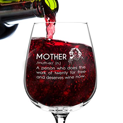 Amazon Mother Definition Funny Wine Glass Gifts For Women Premium Birthday Gift Her Mom Best Friend Unique Present Idea Kitchen Dining