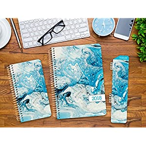 Best Planner 2018 Agenda for Productivity, Durability and Style. 5x8 Daily Planner / Weekly Planner / Monthly Planner / Yearly Agenda. HARDCOVER Organizer with BOOKMARK and JOURNAL (Blue Marble)